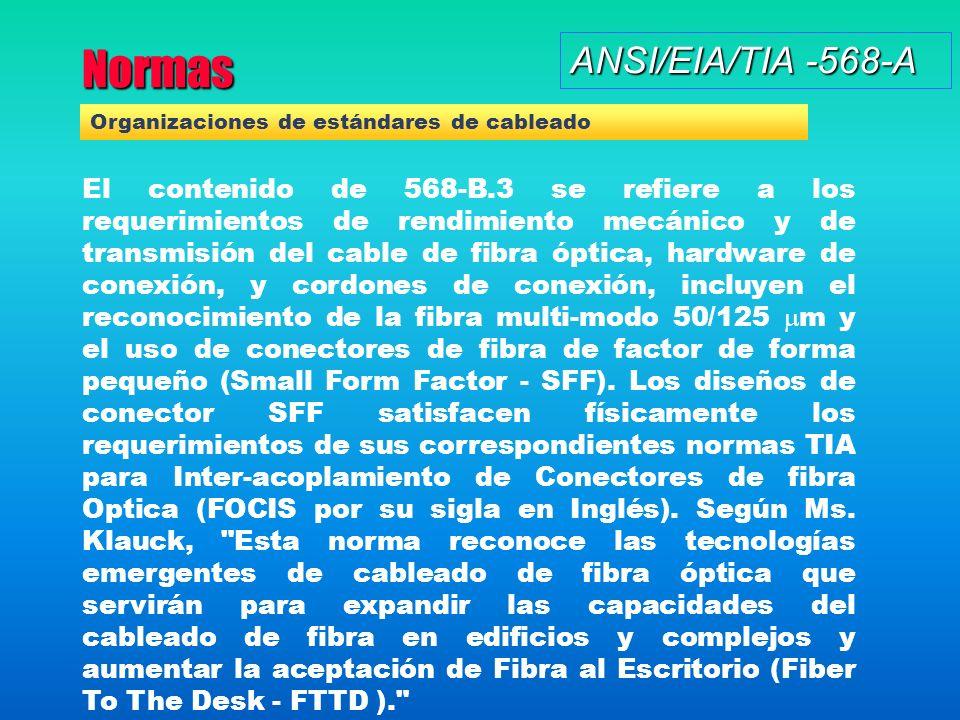 Normas ANSI/EIA/TIA -568-A El contenido de 568-B.3 se refiere a los requerimientos de rendimiento mecánico y de transmisión del cable de fibra óptica, hardware de conexión, y cordones de conexión, incluyen el reconocimiento de la fibra multi-modo 50/125 m y el uso de conectores de fibra de factor de forma pequeño (Small Form Factor - SFF).