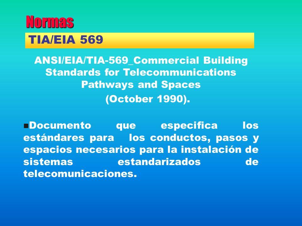 Normas ANSI/EIA/TIA-569_Commercial Building Standards for Telecommunications Pathways and Spaces (October 1990). Documento que especifica los estándar