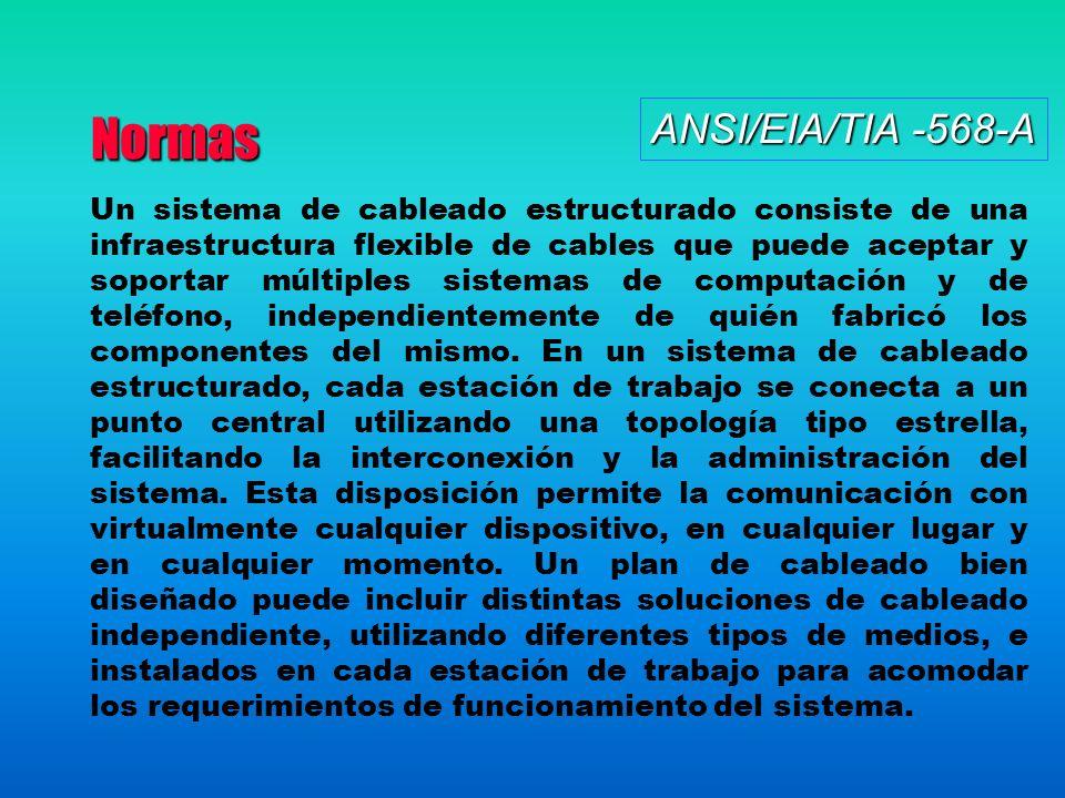 Normas ANSI/EIA/TIA -568-A Un sistema de cableado estructurado consiste de una infraestructura flexible de cables que puede aceptar y soportar múltipl