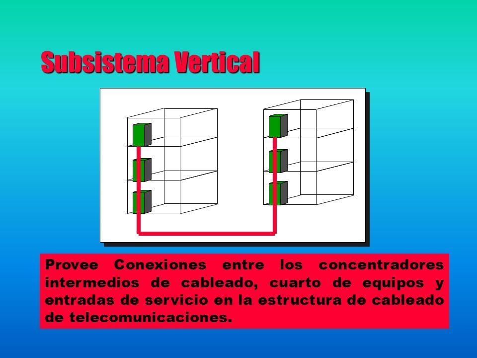 Subsistema Vertical Provee Conexiones entre los concentradores intermedios de cableado, cuarto de equipos y entradas de servicio en la estructura de cableado de telecomunicaciones.