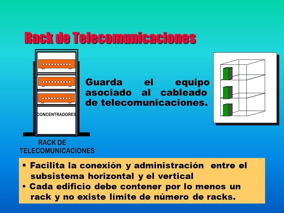 Rack de Telecomunicaciones Facilita la conexión y administración entre el subsistema horizontal y el vertical Cada edificio debe contener por lo menos un rack y no existe límite de número de racks.
