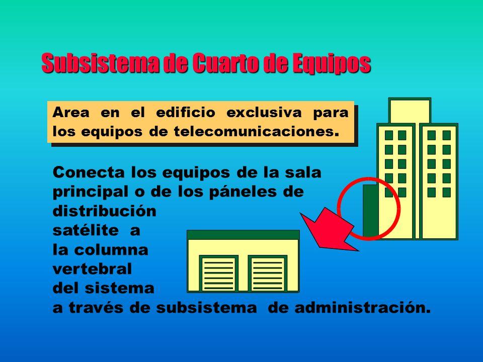 Subsistema de Cuarto de Equipos Area en el edificio exclusiva para los equipos de telecomunicaciones. Conecta los equipos de la sala principal o de lo