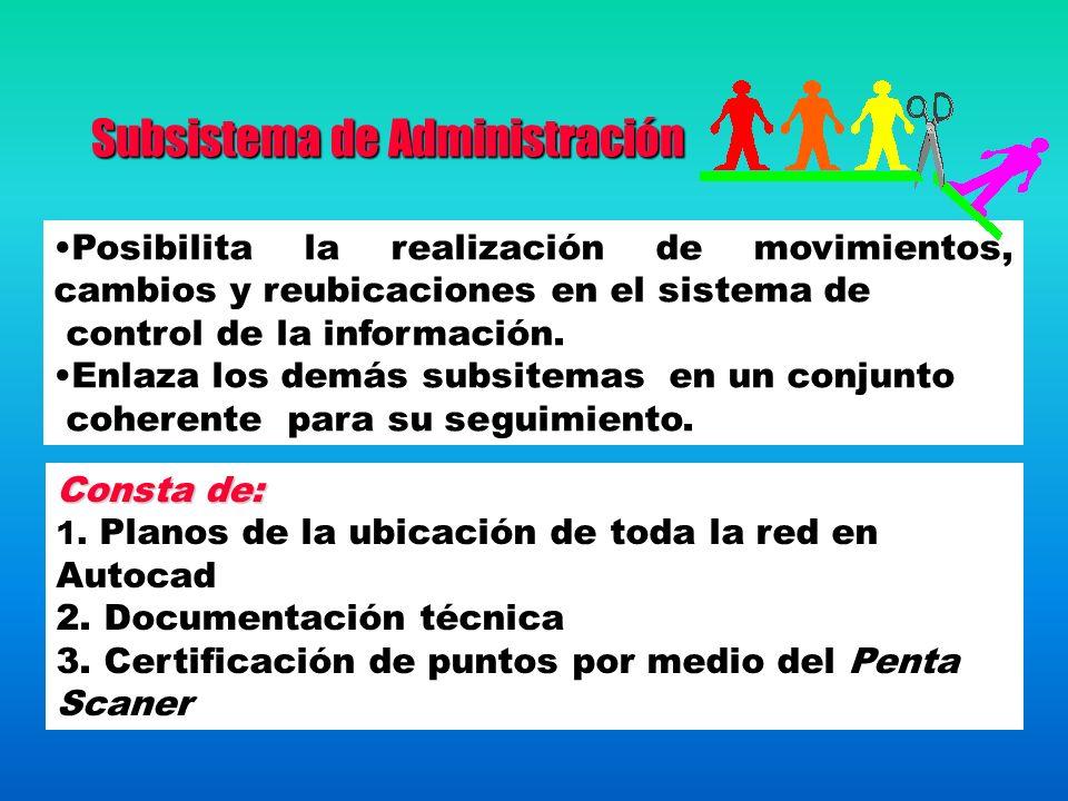 Subsistema de Administración Posibilita la realización de movimientos, cambios y reubicaciones en el sistema de control de la información. Enlaza los