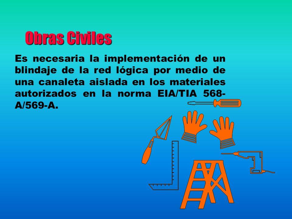Obras Civiles Es necesaria la implementación de un blindaje de la red lógica por medio de una canaleta aislada en los materiales autorizados en la norma EIA/TIA 568- A/569-A.