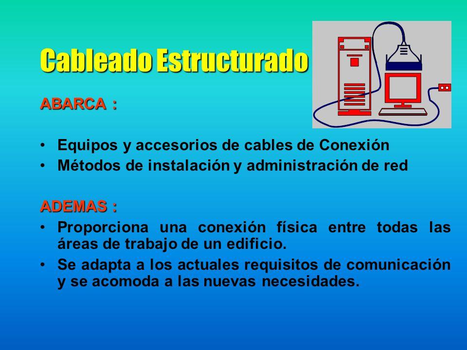 Cableado Estructurado ABARCA : Equipos y accesorios de cables de Conexión Métodos de instalación y administración de red ADEMAS : Proporciona una conexión física entre todas las áreas de trabajo de un edificio.
