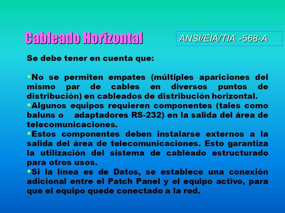 Cableado Horizontal Se debe tener en cuenta que: No se permiten empates (múltiples apariciones del mismo par de cables en diversos puntos de distribución) en cableados de distribución horizontal.