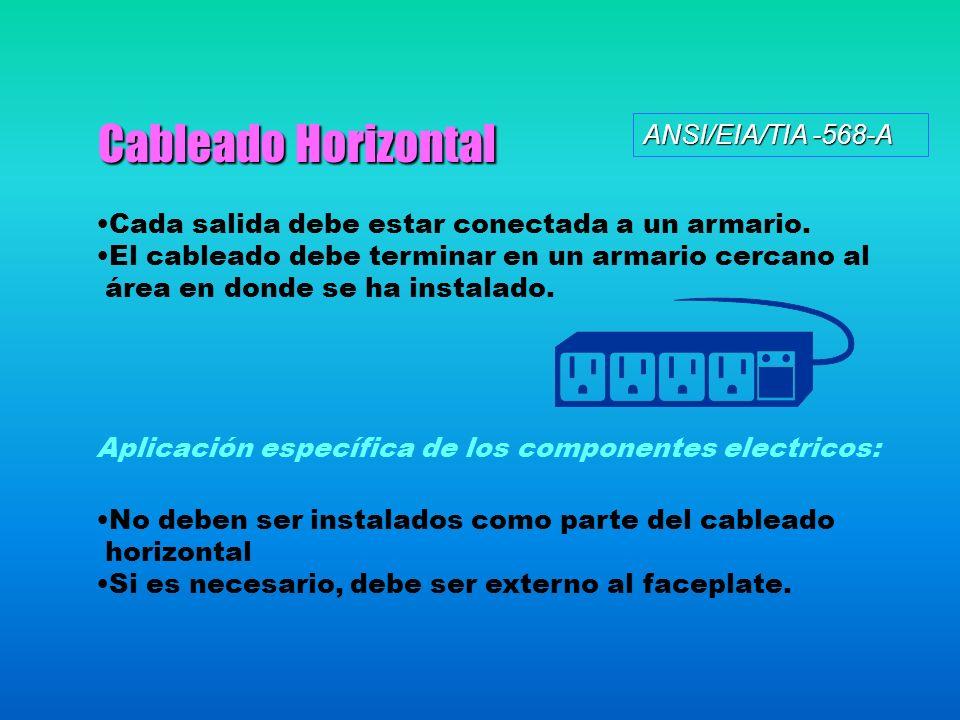 Cableado Horizontal ANSI/EIA/TIA -568-A Cada salida debe estar conectada a un armario. El cableado debe terminar en un armario cercano al área en dond