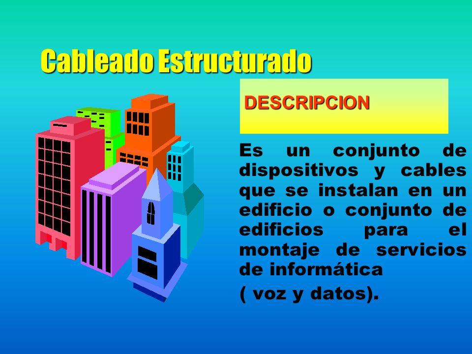 Cableado Estructurado DESCRIPCION DESCRIPCION Es un conjunto de dispositivos y cables que se instalan en un edificio o conjunto de edificios para el montaje de servicios de informática ( voz y datos).