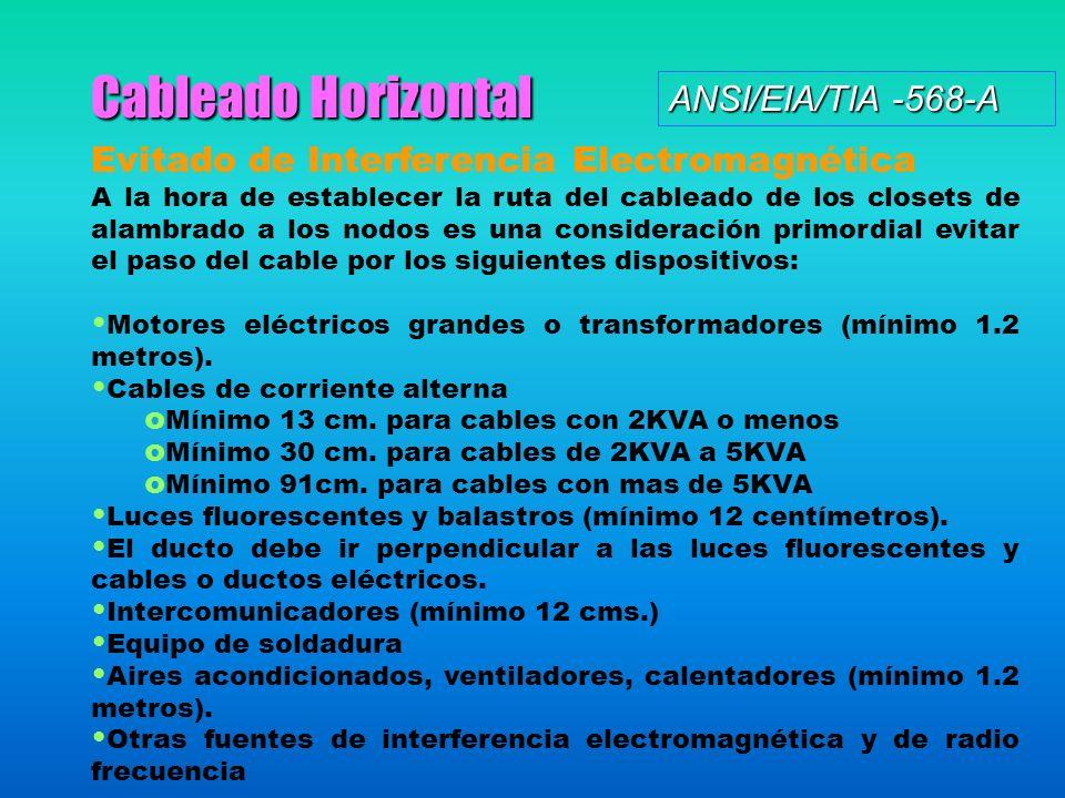 Cableado Horizontal Evitado de Interferencia Electromagnética A la hora de establecer la ruta del cableado de los closets de alambrado a los nodos es