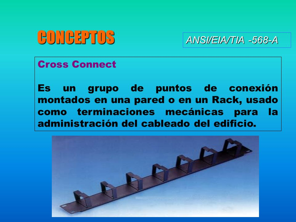ANSI/EIA/TIA -568-A CONCEPTOS Cross Connect Es un grupo de puntos de conexión montados en una pared o en un Rack, usado como terminaciones mecánicas para la administración del cableado del edificio.