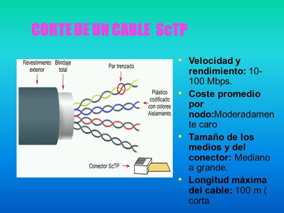 CORTE DE UN CABLE ScTP Velocidad y rendimiento: 10- 100 Mbps. Coste promedio por nodo:Moderadamen te caro Tamaño de los medios y del conector: Mediano