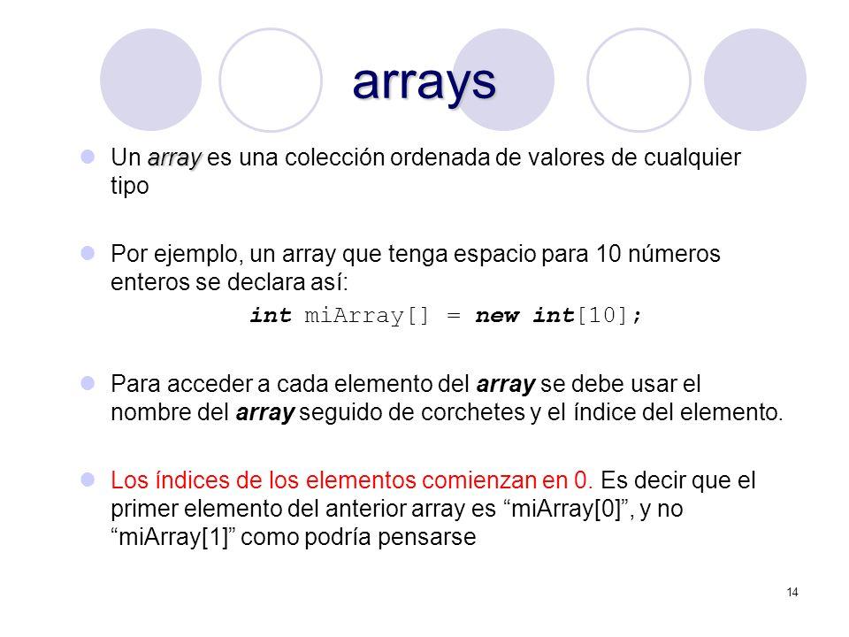 14 arrays array Un array es una colección ordenada de valores de cualquier tipo Por ejemplo, un array que tenga espacio para 10 números enteros se dec