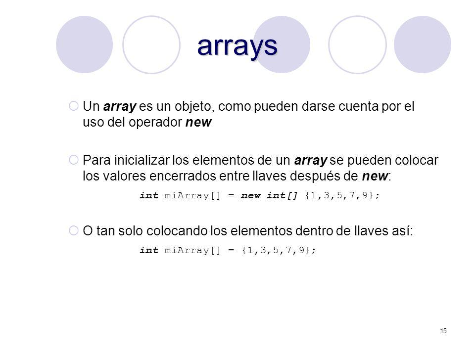 15 arrays Un array es un objeto, como pueden darse cuenta por el uso del operador new Para inicializar los elementos de un array se pueden colocar los