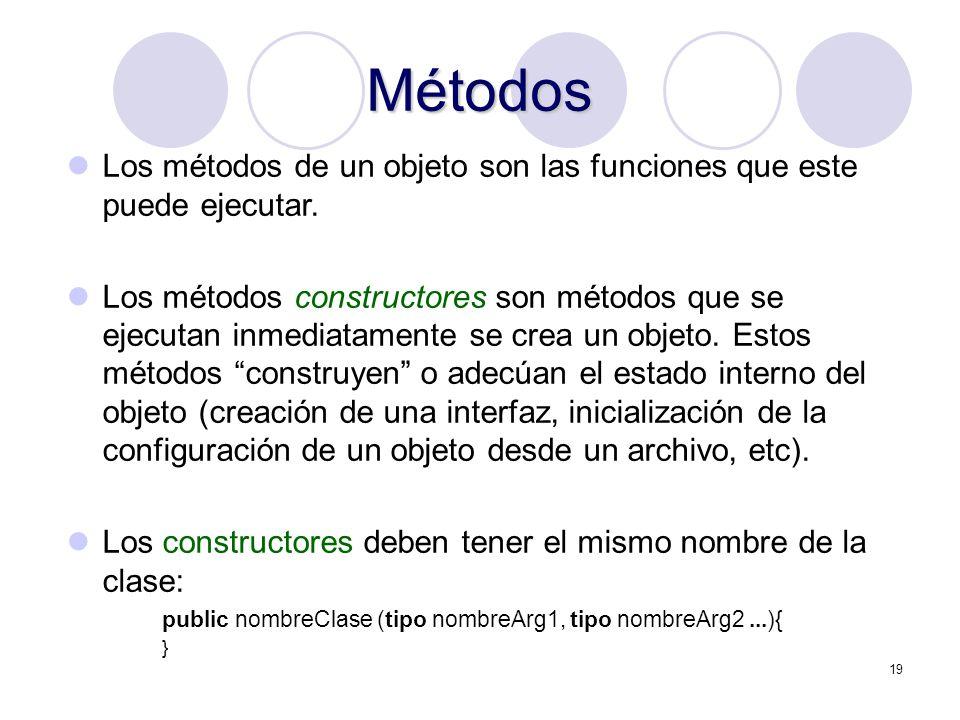 19 Métodos Los métodos de un objeto son las funciones que este puede ejecutar. Los métodos constructores son métodos que se ejecutan inmediatamente se