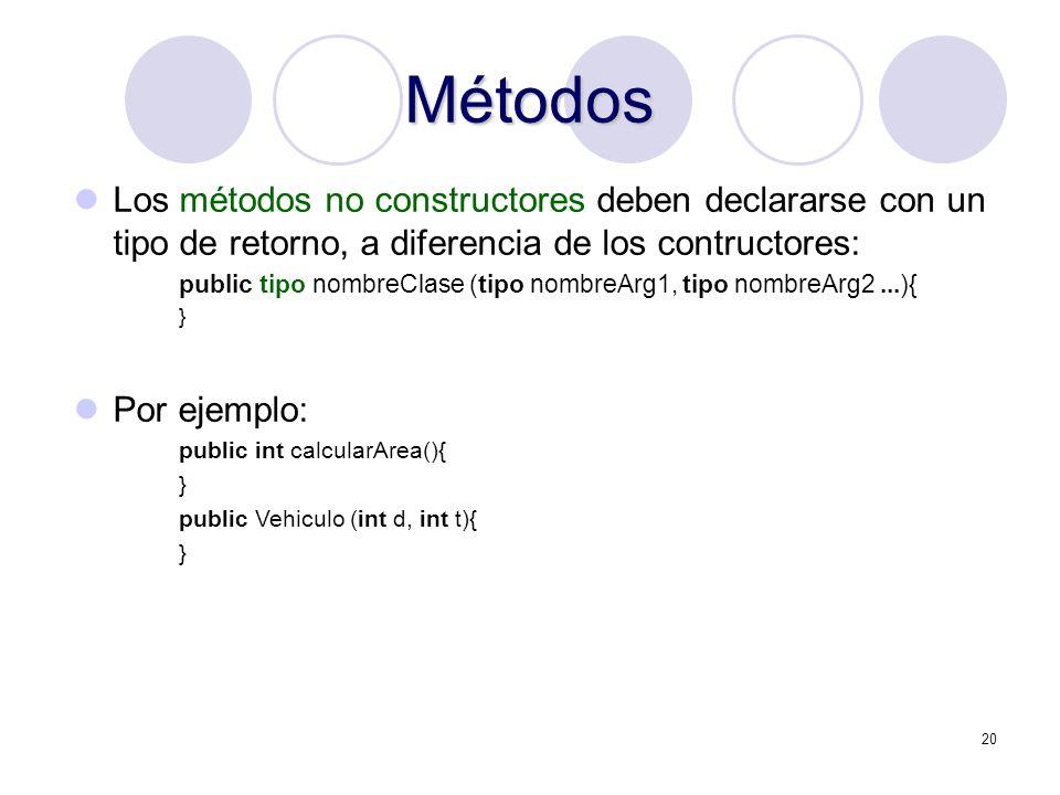 20 Métodos Los métodos no constructores deben declararse con un tipo de retorno, a diferencia de los contructores: public tipo nombreClase (tipo nombr