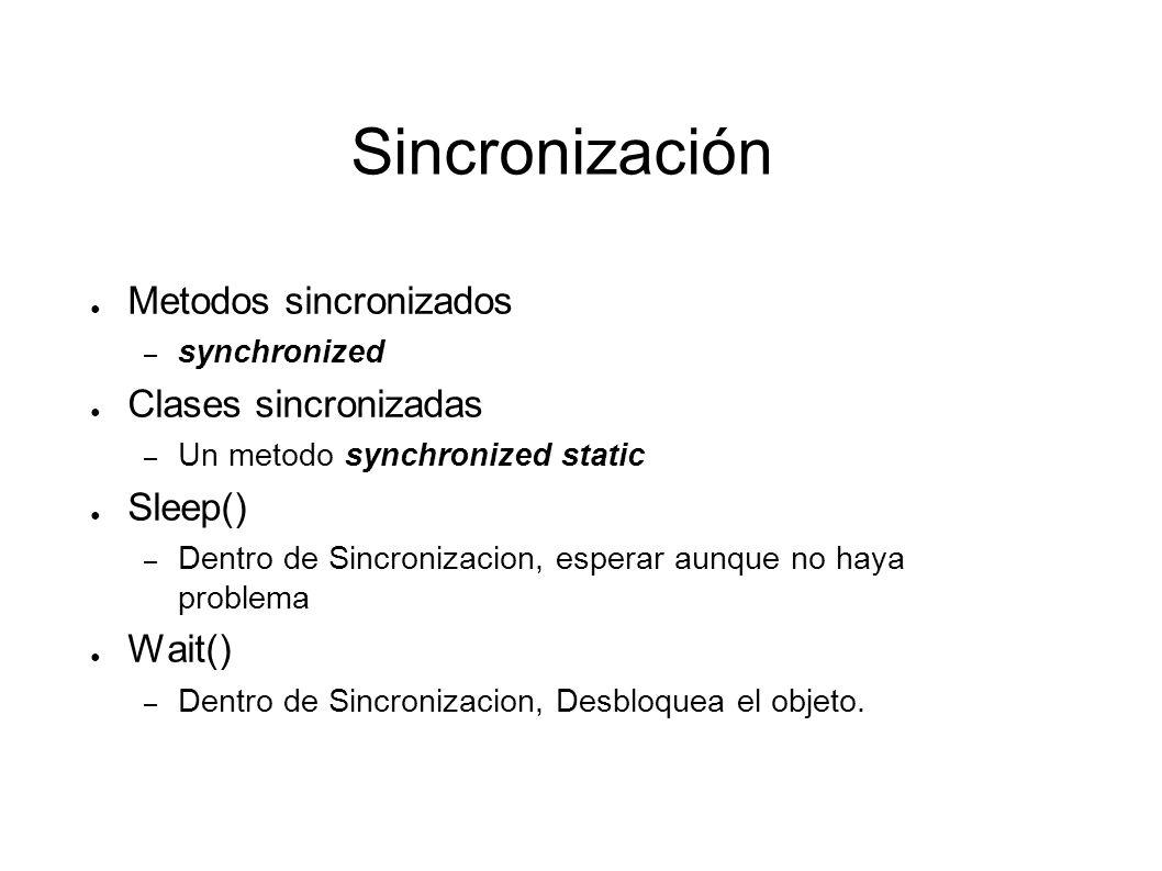 Sincronización get() public synchronized int get() { while (available == false) { try { // Espera a que set() asigne el valor y lo comunique con // notify() wait(); } catch (InterruptedException e) { } } available = false; notifyAll(); // notifica que el valor ha sido leído return contents; // devuelve el valor }