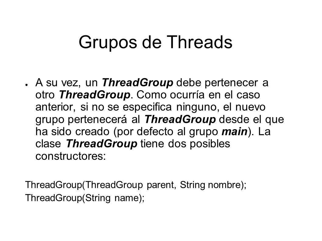 Grupos de Threads getMaxPriority(), setMaxPriority(), getName(), getParent(), parentOf().