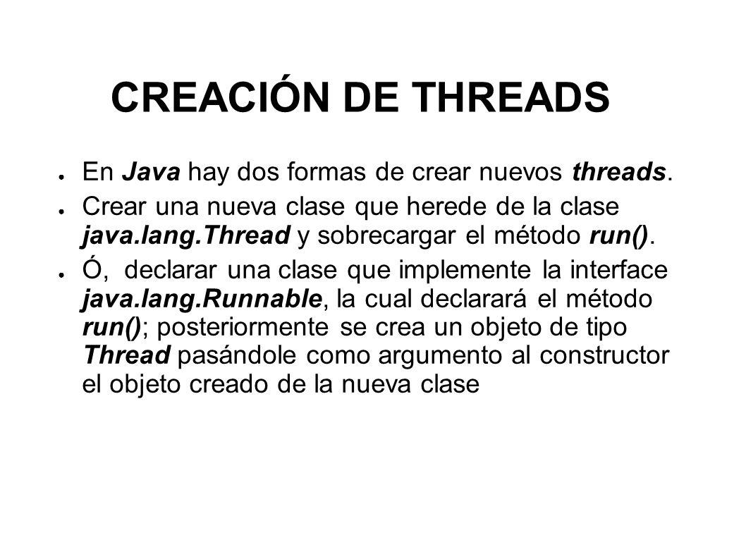 Clase Thread public class SimpleThread extends Thread { public SimpleThread (String str) { // constructor super(str); } public void run() {// redefinición del método run() for(int i=0;i<10;i++) System.out.println( Este es el thread : + getName()); } SimpleThread miThread = new SimpleThread(Hilo de prueba); miThread.start();