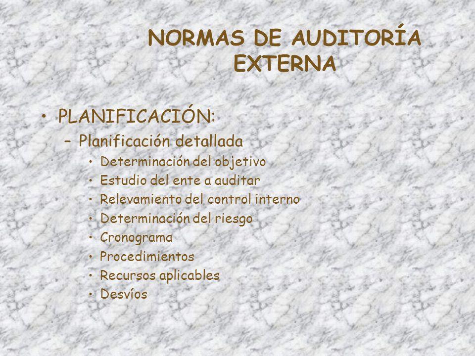 NORMAS DE AUDITORÍA EXTERNA –Evidencia Tipos –Física –Documental –Testimonial –Analítica Carácter –Suficiente –Competente –Pertinente Papeles de trabajo –Titularidad –Archivos –Criterios de evaluación
