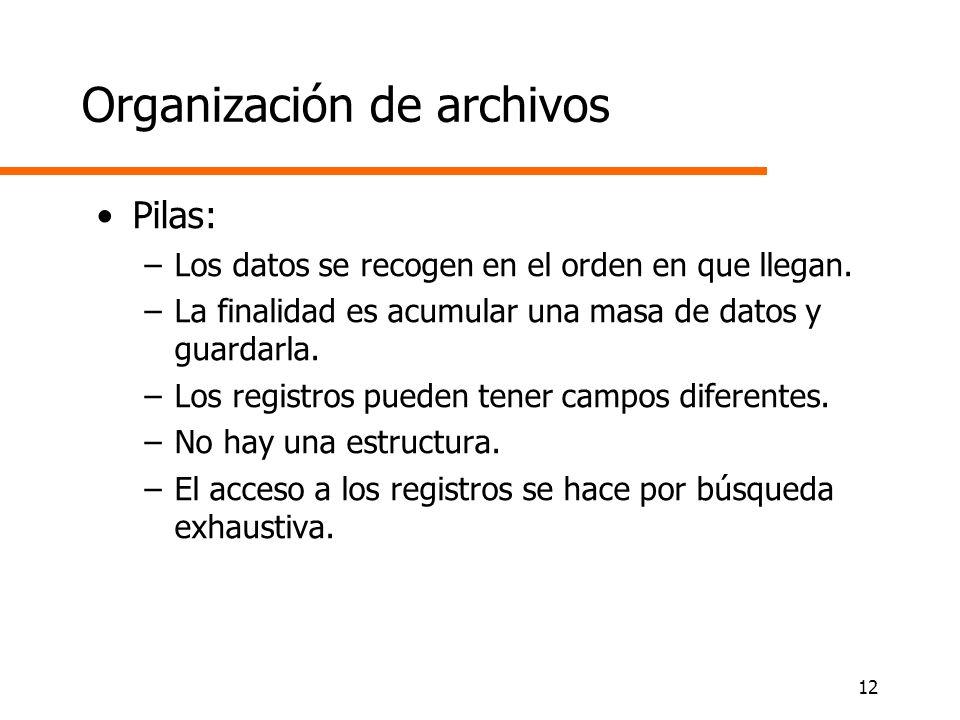 12 Organización de archivos Pilas: –Los datos se recogen en el orden en que llegan. –La finalidad es acumular una masa de datos y guardarla. –Los regi