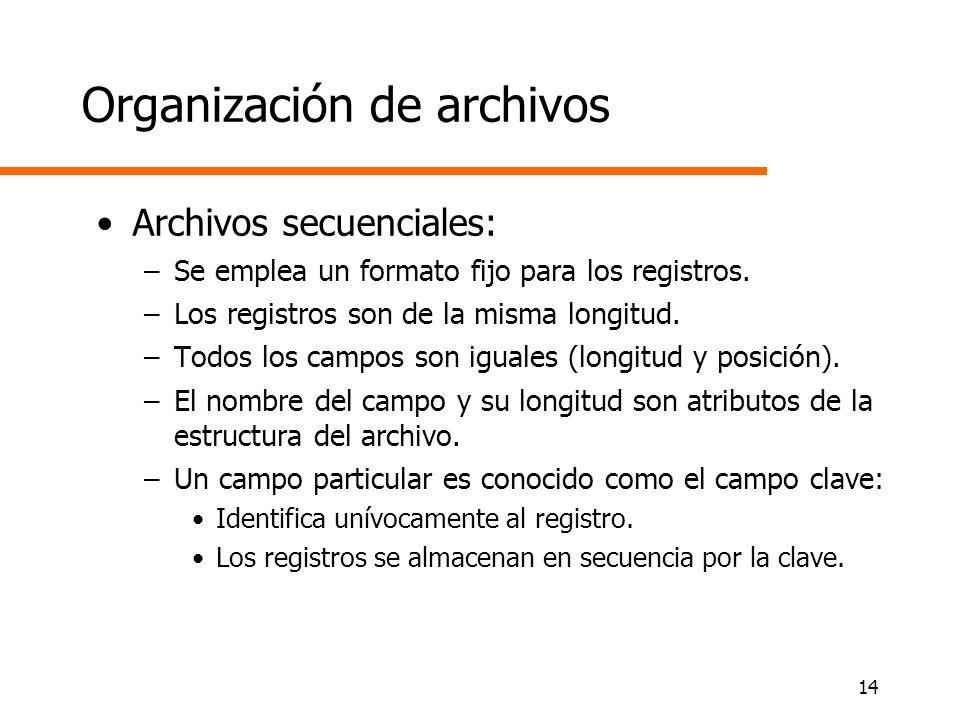 14 Organización de archivos Archivos secuenciales: –Se emplea un formato fijo para los registros. –Los registros son de la misma longitud. –Todos los