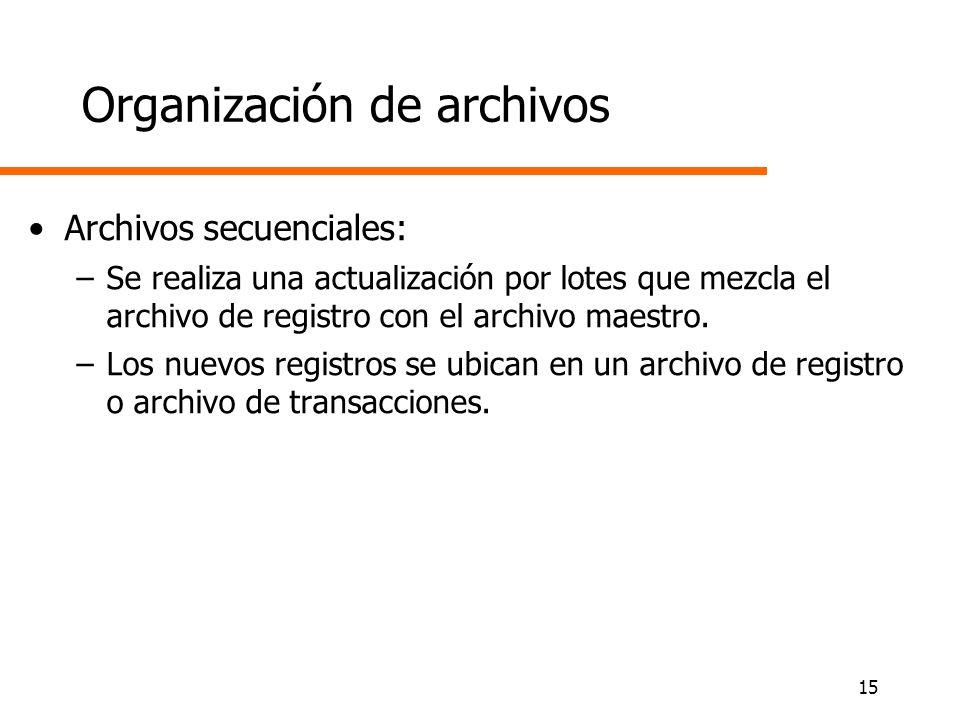 15 Organización de archivos Archivos secuenciales: –Se realiza una actualización por lotes que mezcla el archivo de registro con el archivo maestro. –