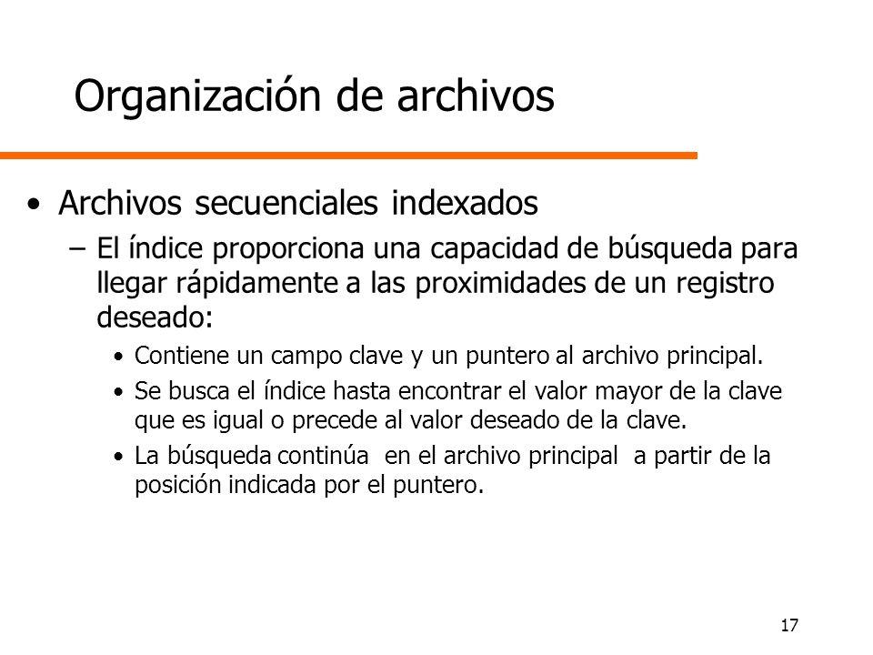 17 Organización de archivos Archivos secuenciales indexados –El índice proporciona una capacidad de búsqueda para llegar rápidamente a las proximidade