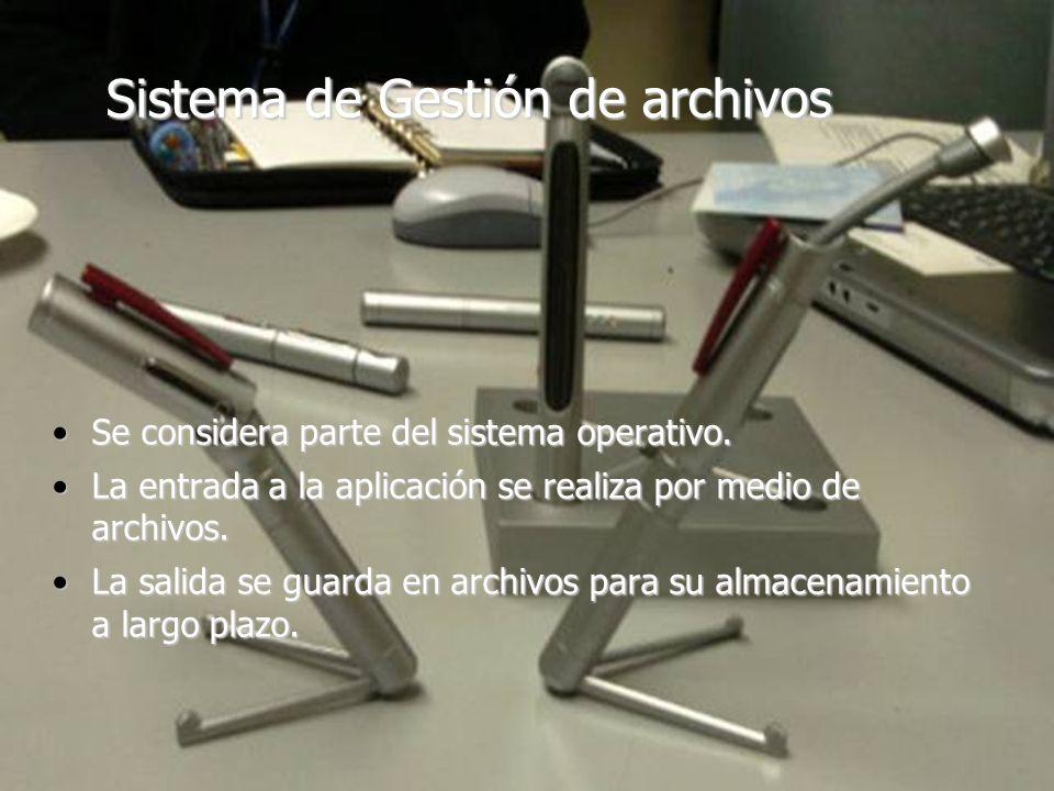 2 Sistema de Gestión de archivos Se considera parte del sistema operativo.Se considera parte del sistema operativo. La entrada a la aplicación se real