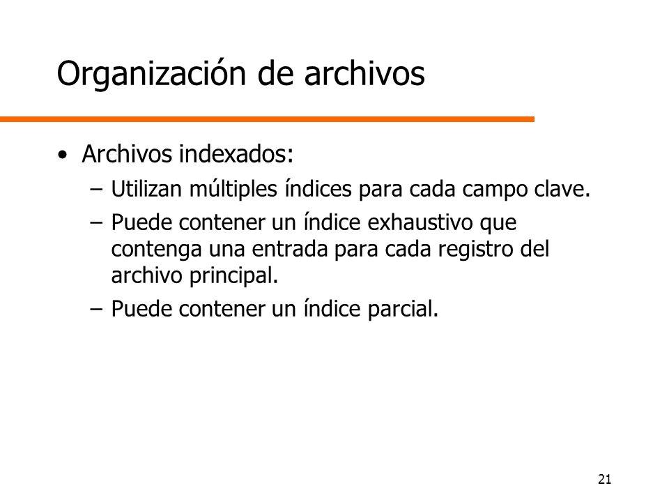 21 Organización de archivos Archivos indexados: –Utilizan múltiples índices para cada campo clave. –Puede contener un índice exhaustivo que contenga u