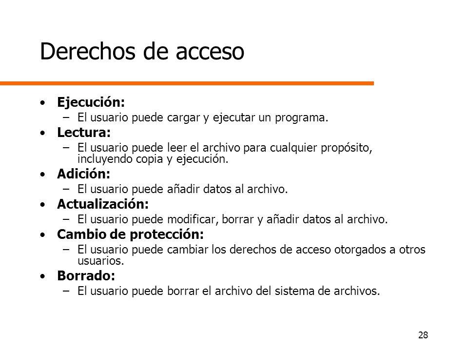28 Derechos de acceso Ejecución: –El usuario puede cargar y ejecutar un programa. Lectura: –El usuario puede leer el archivo para cualquier propósito,