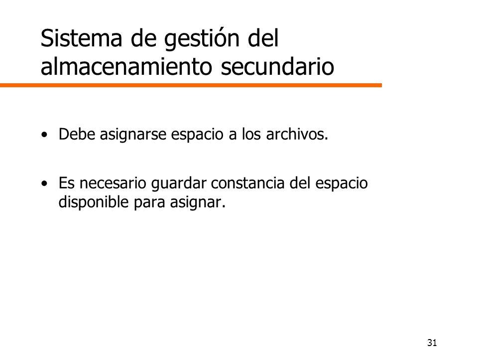31 Sistema de gestión del almacenamiento secundario Debe asignarse espacio a los archivos. Es necesario guardar constancia del espacio disponible para