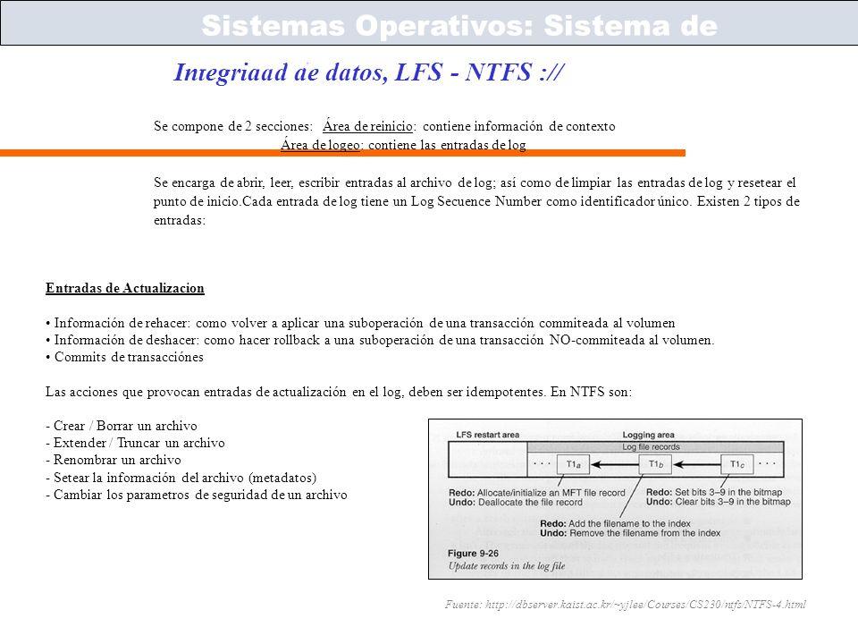 Sistemas Operativos – ICC243 [ 48 ] Prof. Jonathan Makuc Integridad de datos, LFS - NTFS :// Sistemas Operativos: Sistema de Archivos Fuente: http://d