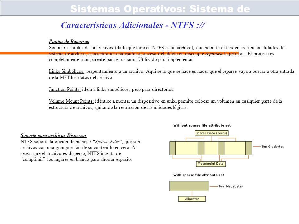 Sistemas Operativos – ICC243 [ 52 ] Prof. Jonathan Makuc Características Adicionales - NTFS :// Sistemas Operativos: Sistema de Archivos Puntos de Rep