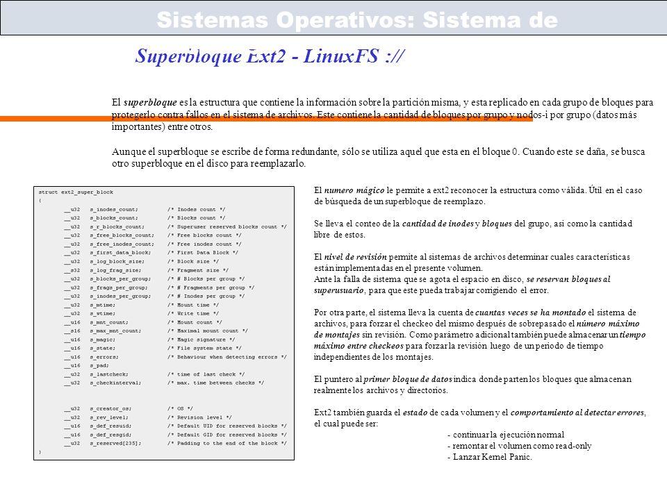 Sistemas Operativos – ICC243 [ 56 ] Prof. Jonathan Makuc Superbloque Ext2 - LinuxFS :// Sistemas Operativos: Sistema de Archivos El superbloque es la