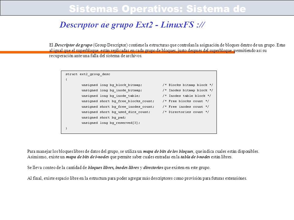 Sistemas Operativos – ICC243 [ 57 ] Prof. Jonathan Makuc Descriptor de grupo Ext2 - LinuxFS :// Sistemas Operativos: Sistema de Archivos El Descriptor
