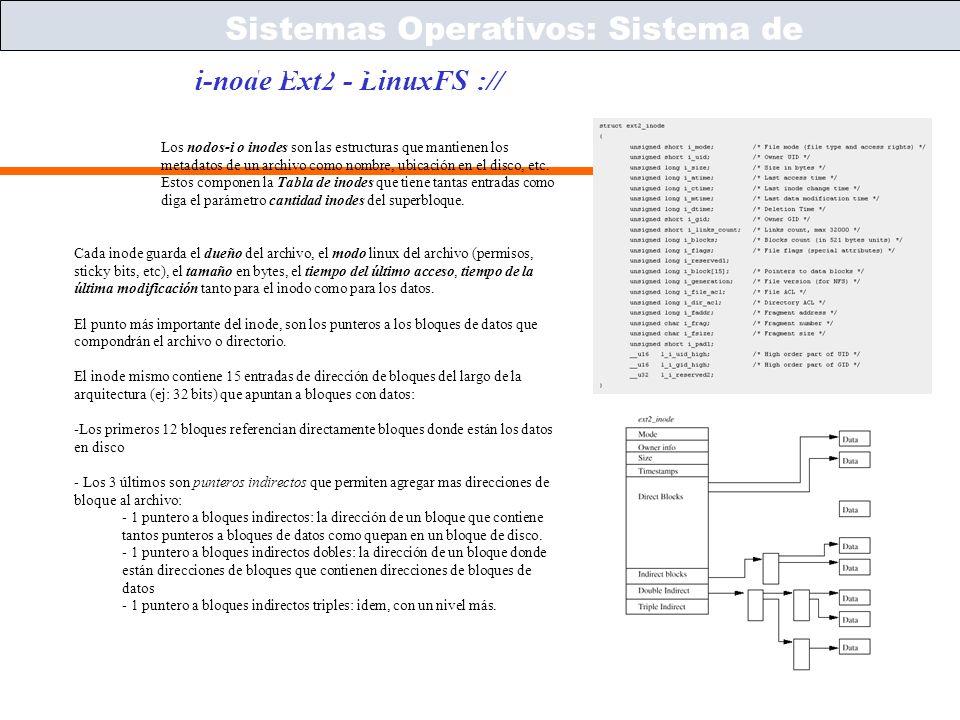 Sistemas Operativos – ICC243 [ 58 ] Prof. Jonathan Makuc i-node Ext2 - LinuxFS :// Sistemas Operativos: Sistema de Archivos Los nodos-i o inodes son l
