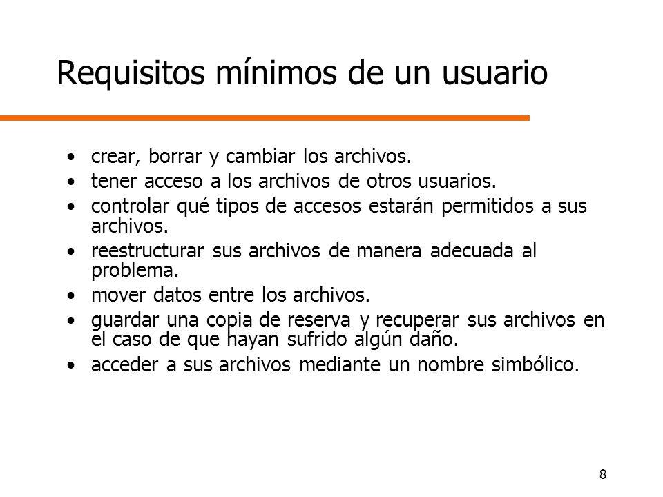 8 Requisitos mínimos de un usuario crear, borrar y cambiar los archivos. tener acceso a los archivos de otros usuarios. controlar qué tipos de accesos