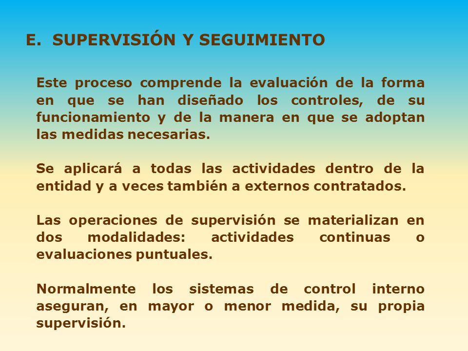 E. SUPERVISIÓN Y SEGUIMIENTO Este proceso comprende la evaluación de la forma en que se han diseñado los controles, de su funcionamiento y de la maner
