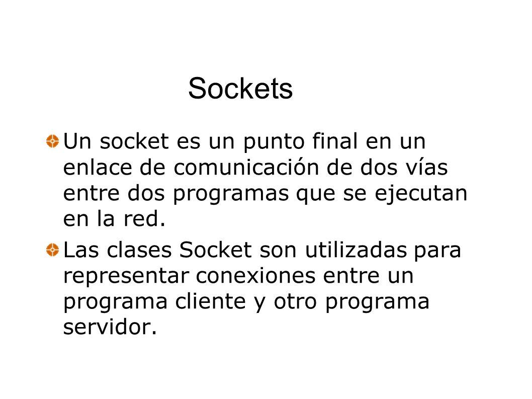 Sockets Un socket es un punto final en un enlace de comunicación de dos vías entre dos programas que se ejecutan en la red. Las clases Socket son util