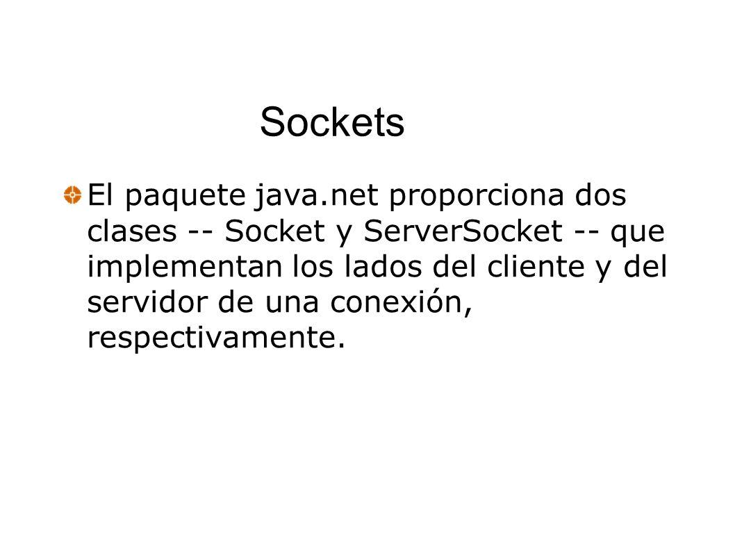 Sockets El paquete java.net proporciona dos clases -- Socket y ServerSocket -- que implementan los lados del cliente y del servidor de una conexión, r