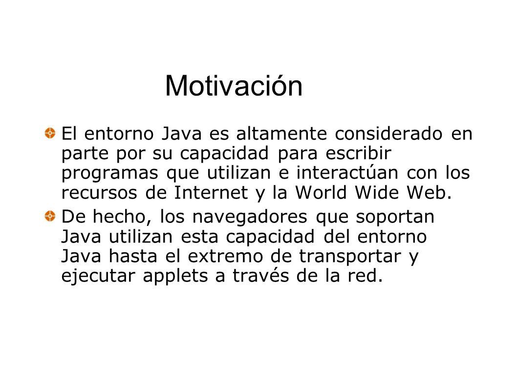 Motivación El entorno Java es altamente considerado en parte por su capacidad para escribir programas que utilizan e interactúan con los recursos de I