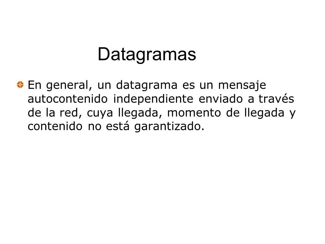 Datagramas En general, un datagrama es un mensaje autocontenido independiente enviado a través de la red, cuya llegada, momento de llegada y contenido