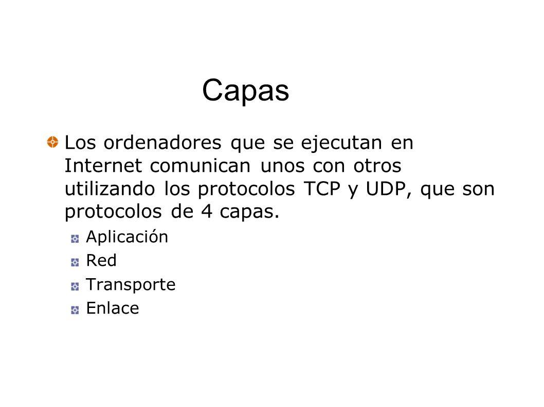 Capas Los ordenadores que se ejecutan en Internet comunican unos con otros utilizando los protocolos TCP y UDP, que son protocolos de 4 capas. Aplicac
