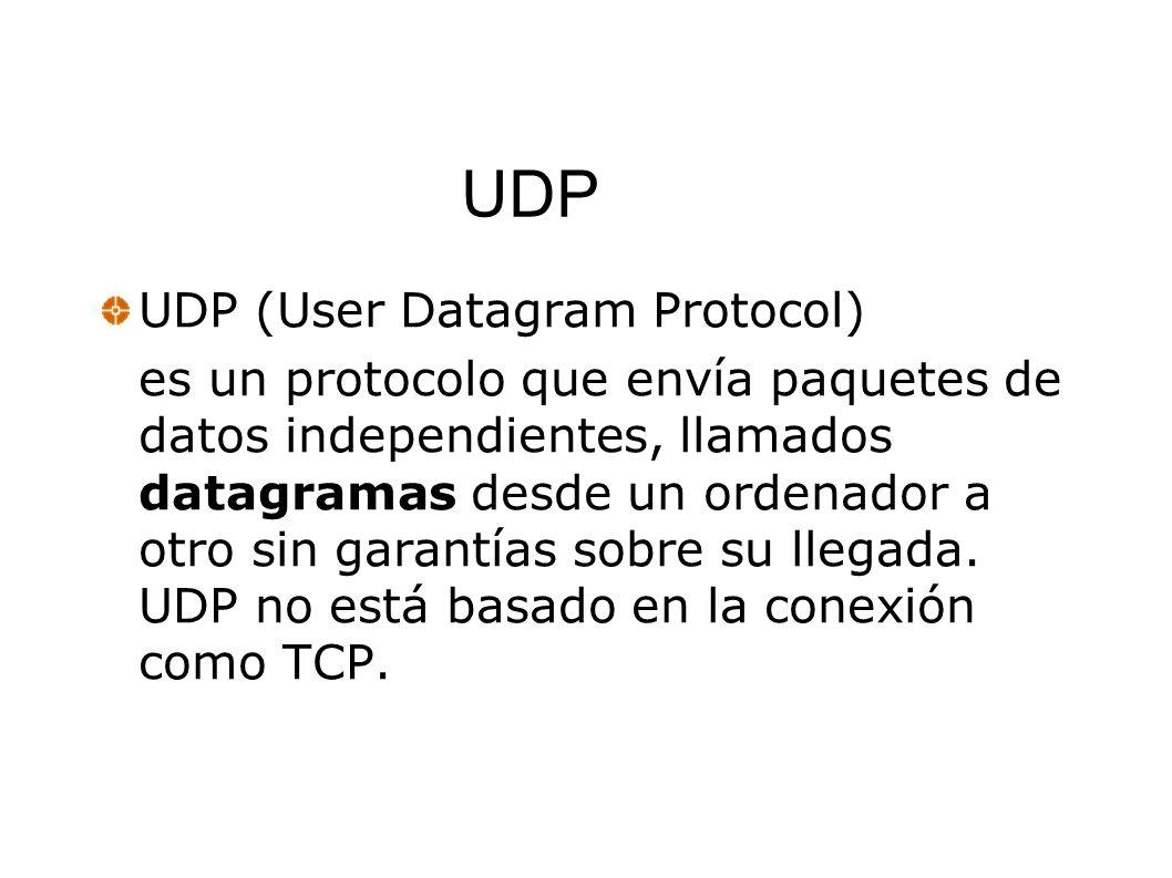 UDP UDP (User Datagram Protocol) es un protocolo que envía paquetes de datos independientes, llamados datagramas desde un ordenador a otro sin garantí