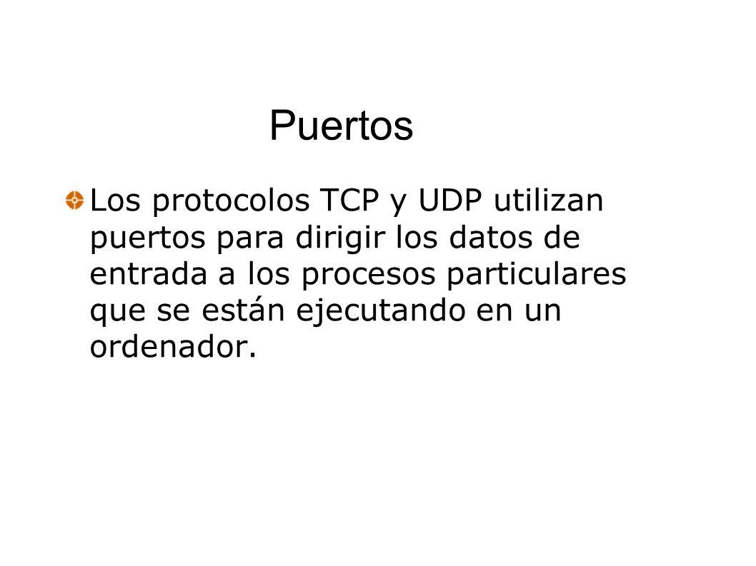 Puertos Los protocolos TCP y UDP utilizan puertos para dirigir los datos de entrada a los procesos particulares que se están ejecutando en un ordenado