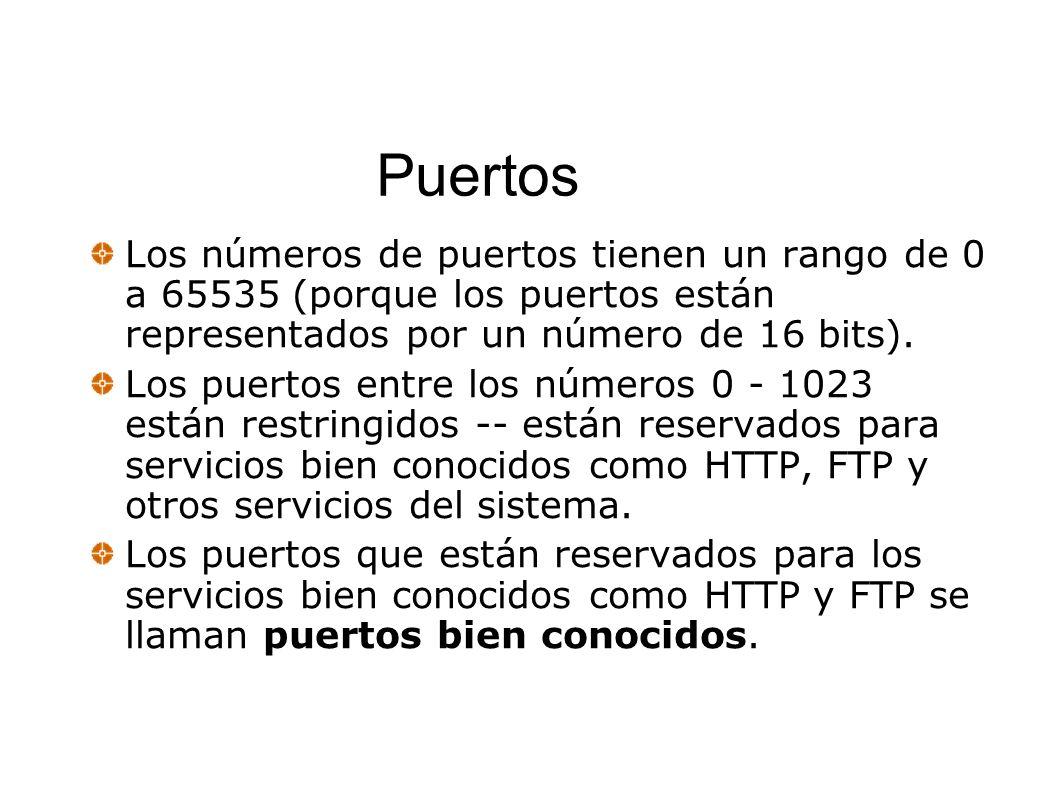 Puertos Los números de puertos tienen un rango de 0 a 65535 (porque los puertos están representados por un número de 16 bits). Los puertos entre los n
