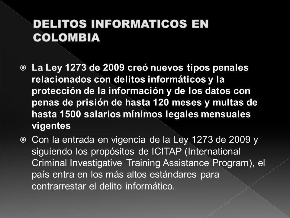 La Ley 1273 de 2009 creó nuevos tipos penales relacionados con delitos informáticos y la protección de la información y de los datos con penas de pris
