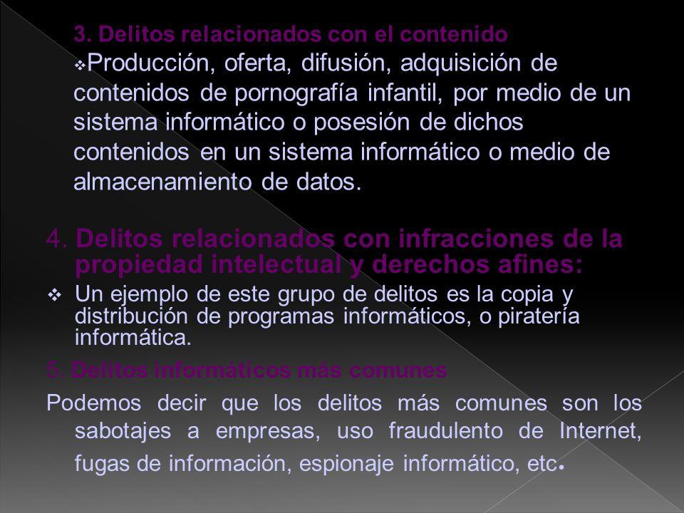 4. Delitos relacionados con infracciones de la propiedad intelectual y derechos afines: Un ejemplo de este grupo de delitos es la copia y distribución