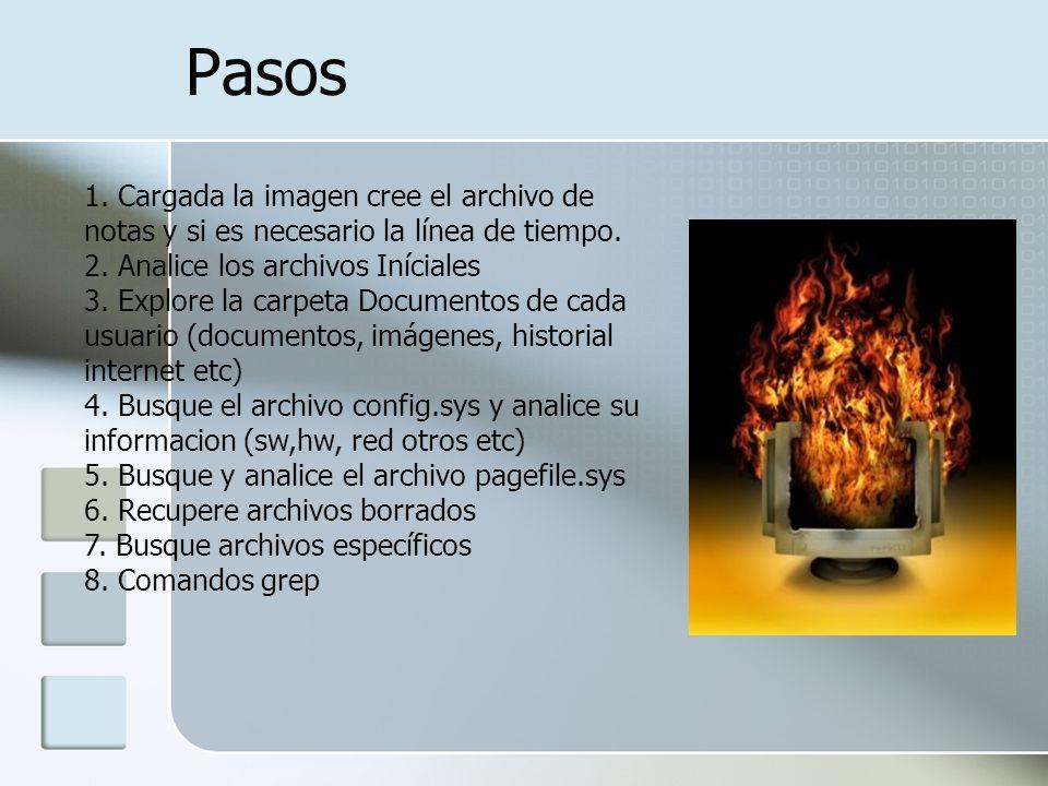 Pasos 1. Cargada la imagen cree el archivo de notas y si es necesario la línea de tiempo. 2. Analice los archivos Iníciales 3. Explore la carpeta Docu