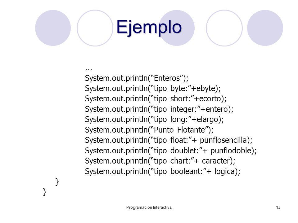 Programación Interactiva13 Ejemplo... System.out.println(Enteros); System.out.println(tipo byte:+ebyte); System.out.println(tipo short:+ecorto); Syste